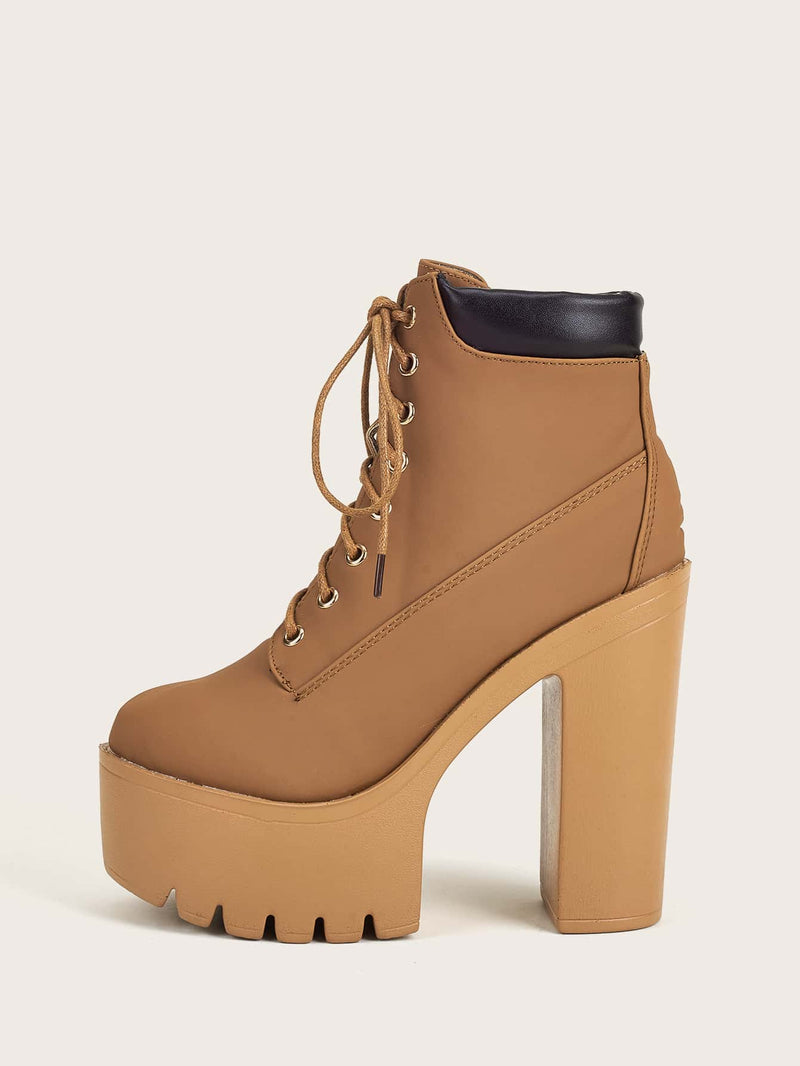 Chunky Heeled Platform Lace Up Ankle Boots - 𝐄𝐑𝐔𝐌𝐉𝐔𝐒