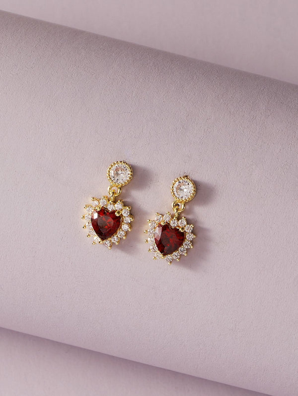 Classy Gemstone Decor Heart Drop Earrings - 𝐄𝐑𝐔𝐌𝐉𝐔𝐒