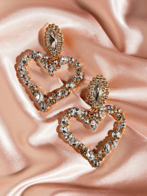 Classy pair Gemstone Decor Heart Drop Earrings - 𝐄𝐑𝐔𝐌𝐉𝐔𝐒