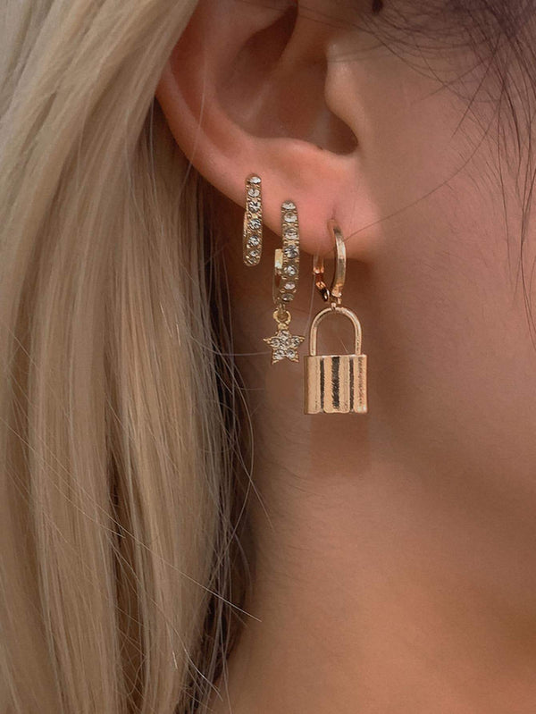 Classy Star Lock Earrings - 𝐄𝐑𝐔𝐌𝐉𝐔𝐒
