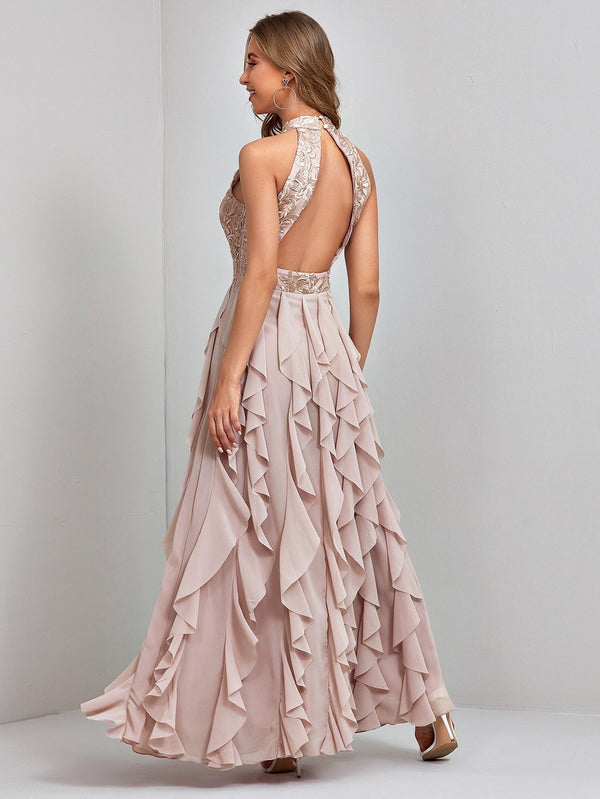 Contrast Mesh Embroidered Ruffle Backless A-line Dress - 𝐄𝐑𝐔𝐌𝐉𝐔𝐒