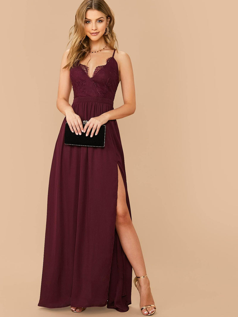 Criss-cross Split Thigh Lace Bodice Cami Dress - 𝐄𝐑𝐔𝐌𝐉𝐔𝐒