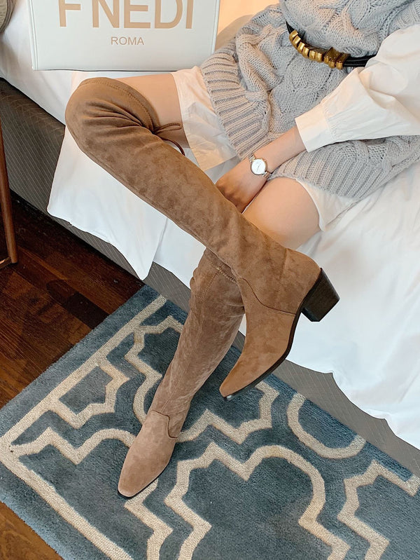 Square Toe Suede Over The Knee Boots - 𝐄𝐑𝐔𝐌𝐉𝐔𝐒