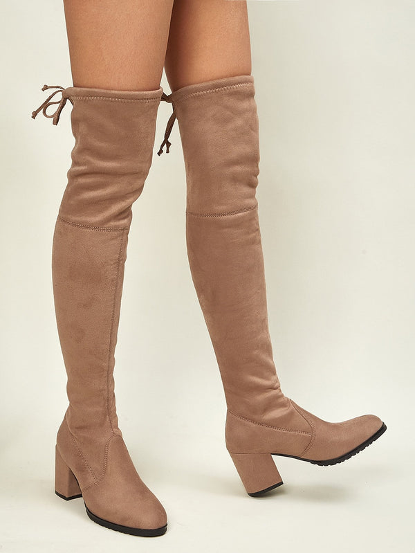 Tie Back Over Knee Block Heeled Boots - 𝐄𝐑𝐔𝐌𝐉𝐔𝐒