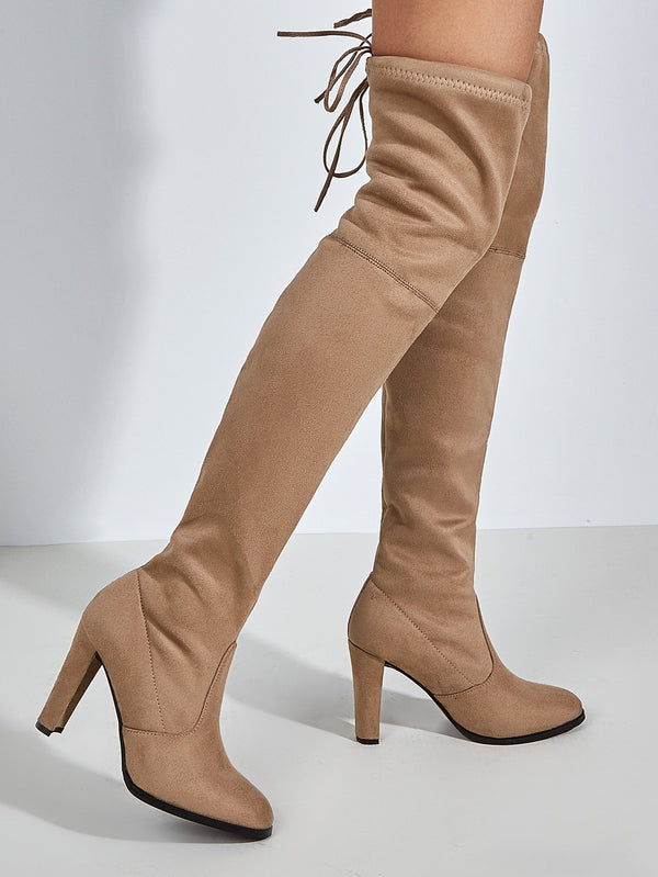Tie Back Over The Knee Chunky Boots - 𝐄𝐑𝐔𝐌𝐉𝐔𝐒