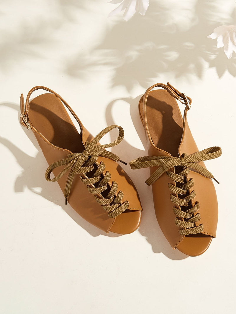Peep Toe Lace-up Front Slingback Sandals - 𝐄𝐑𝐔𝐌𝐉𝐔𝐒