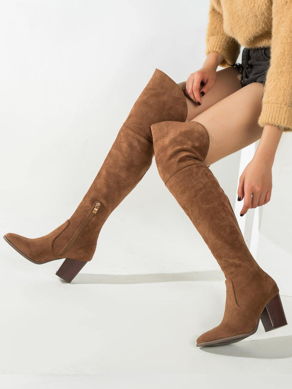 Minimalist Side Zipper Chunky Heeled Boots - 𝐄𝐑𝐔𝐌𝐉𝐔𝐒