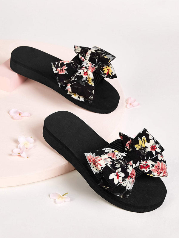 Floral Print Bow Decor Flats - 𝐄𝐑𝐔𝐌𝐉𝐔𝐒
