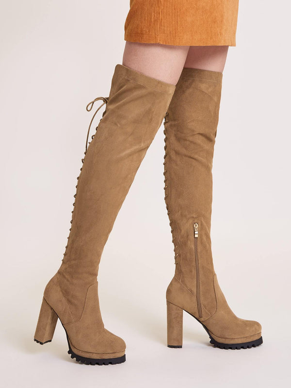 Side Zip Over The Knee Boots - 𝐄𝐑𝐔𝐌𝐉𝐔𝐒