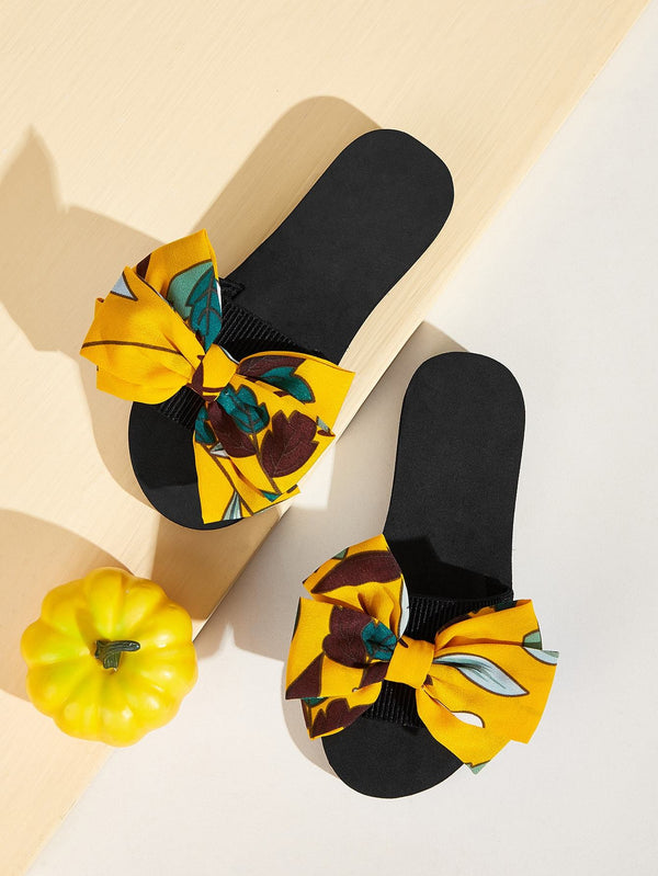 Open Toe Bow Decor Sliders - 𝐄𝐑𝐔𝐌𝐉𝐔𝐒