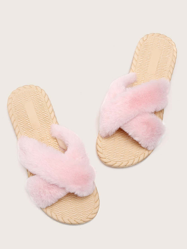 Faux Fur Decor Cross Strap Slides - 𝐄𝐑𝐔𝐌𝐉𝐔𝐒