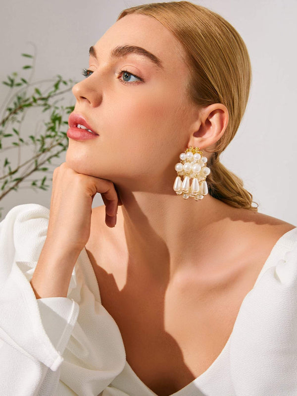 Faux Pearl Beaded Tassel Drop Earrings - 𝐄𝐑𝐔𝐌𝐉𝐔𝐒