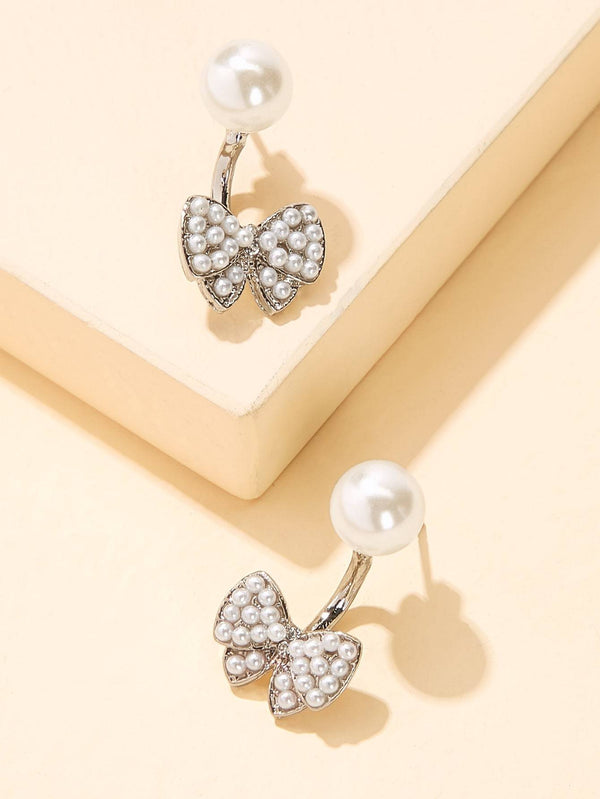 Faux Pearl Decor Bow Stud Earrings 1pair - 𝐄𝐑𝐔𝐌𝐉𝐔𝐒