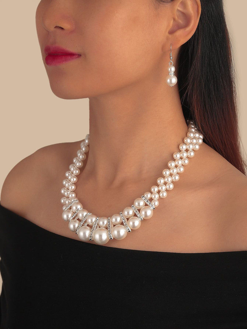 Faux Pearl Decor Necklace & Earrings - 𝐄𝐑𝐔𝐌𝐉𝐔𝐒