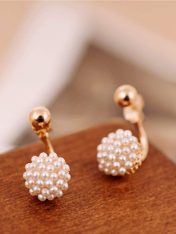 Faux Pearl Detail Stud Earrings 1pair - 𝐄𝐑𝐔𝐌𝐉𝐔𝐒