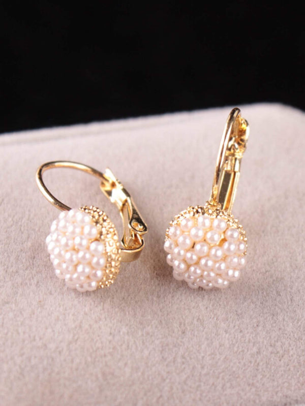 Faux Pearl Hoop Earrings 1pair - 𝐄𝐑𝐔𝐌𝐉𝐔𝐒