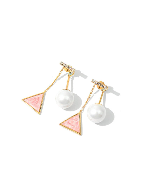 Faux Pearl & Triangle Detail Drop Earrings 1pair - 𝐄𝐑𝐔𝐌𝐉𝐔𝐒