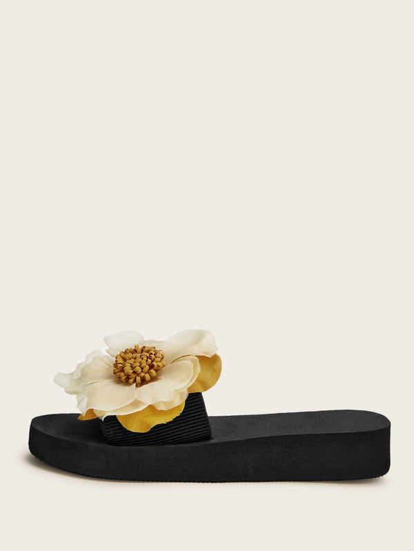 Floral Applique Open Toe Sliders - 𝐄𝐑𝐔𝐌𝐉𝐔𝐒