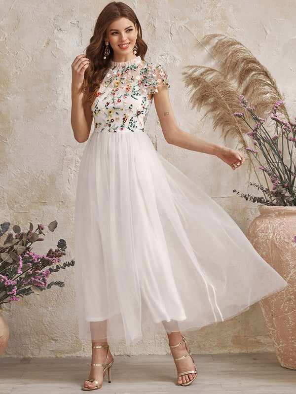 Frilled Neck Floral Embroidered Mesh 2 In 1 Dress - 𝐄𝐑𝐔𝐌𝐉𝐔𝐒