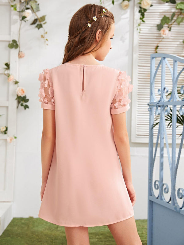 Girls Appliques Mesh Sleeve Dress - 𝐄𝐑𝐔𝐌𝐉𝐔𝐒