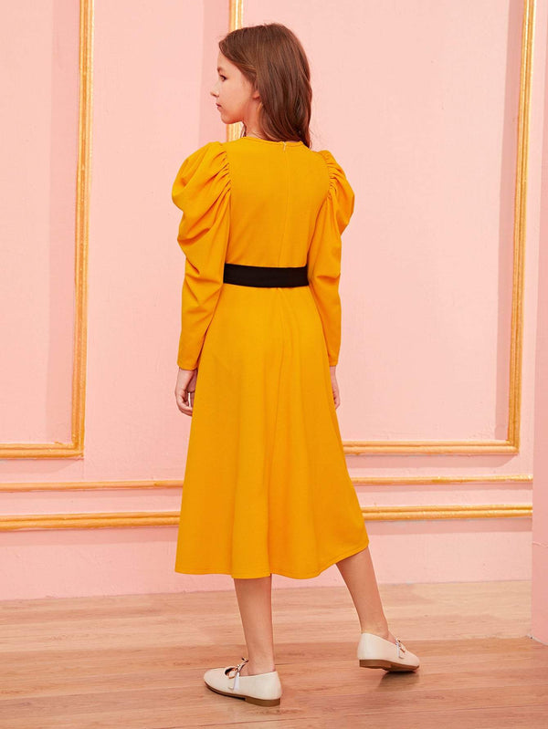 Girls Buttoned Front Puff Sleeve Dress With Belt - 𝐄𝐑𝐔𝐌𝐉𝐔𝐒