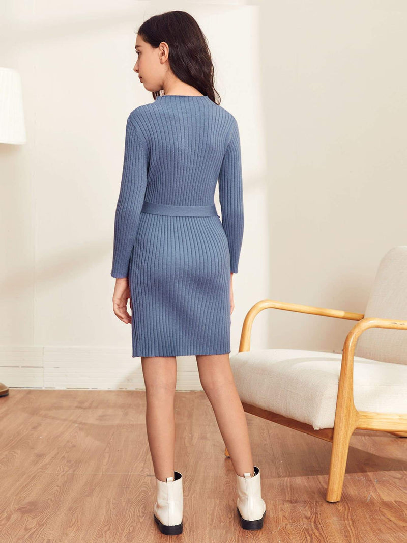 Girls Buttoned Sleeve Belted Rib-knit Sweater Dress - 𝐄𝐑𝐔𝐌𝐉𝐔𝐒