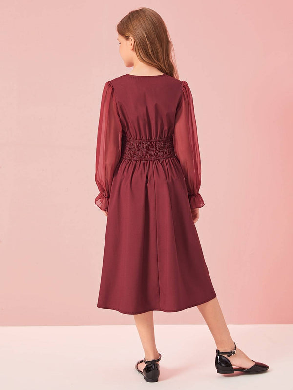 Girls Chiffon Sleeve Buttoned Shirred Waist Dress - 𝐄𝐑𝐔𝐌𝐉𝐔𝐒