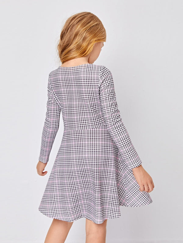 Girls Fit and Flare Plaid Dress - 𝐄𝐑𝐔𝐌𝐉𝐔𝐒