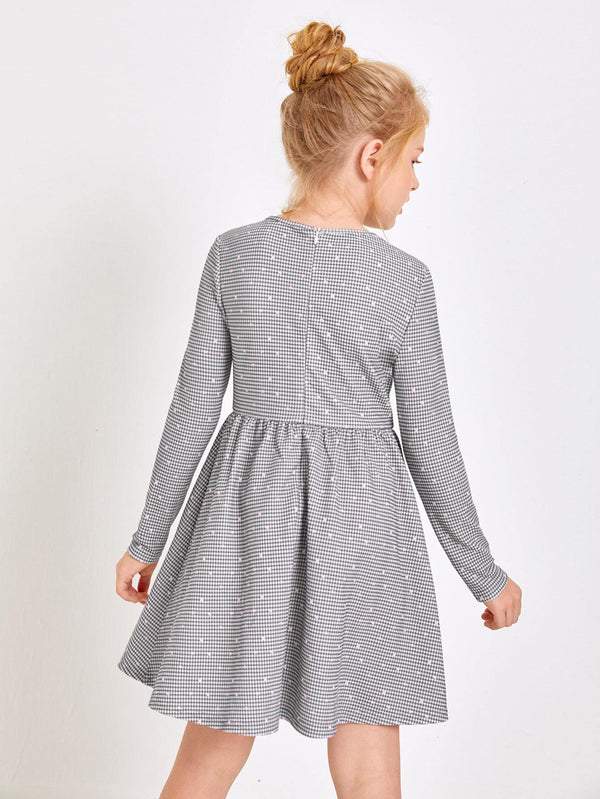Girls Heart & Houndstooth Dress - 𝐄𝐑𝐔𝐌𝐉𝐔𝐒