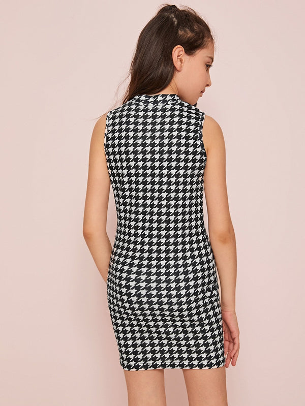 Girls Mock-neck Sleeveless Houndstooth Bodycon Dress - 𝐄𝐑𝐔𝐌𝐉𝐔𝐒