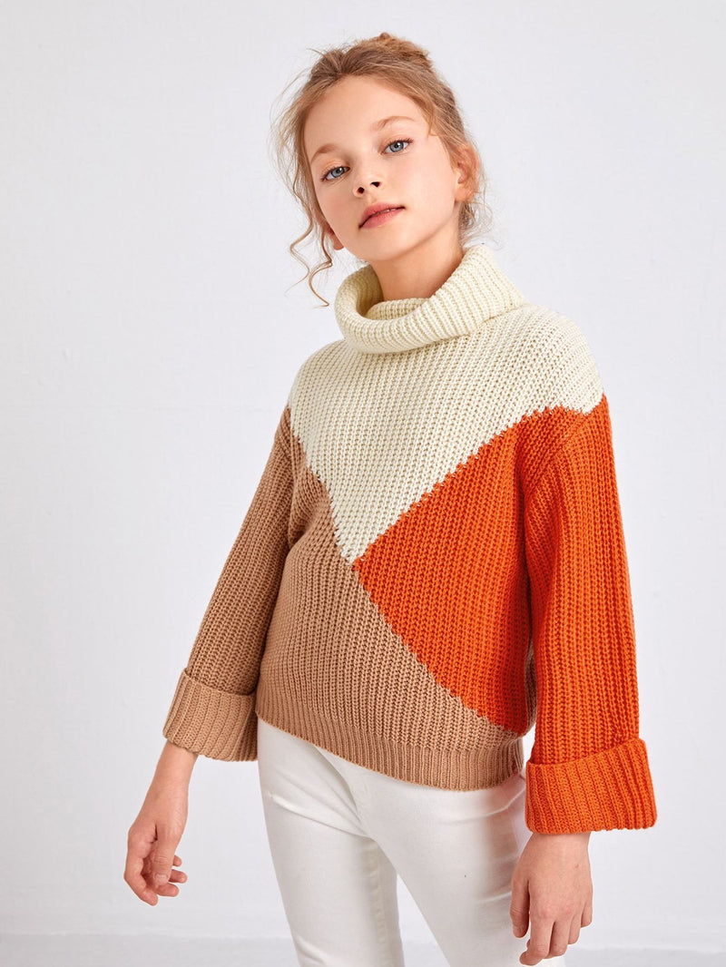 Girls Turtle Neck Colorblock Sweater - 𝐄𝐑𝐔𝐌𝐉𝐔𝐒
