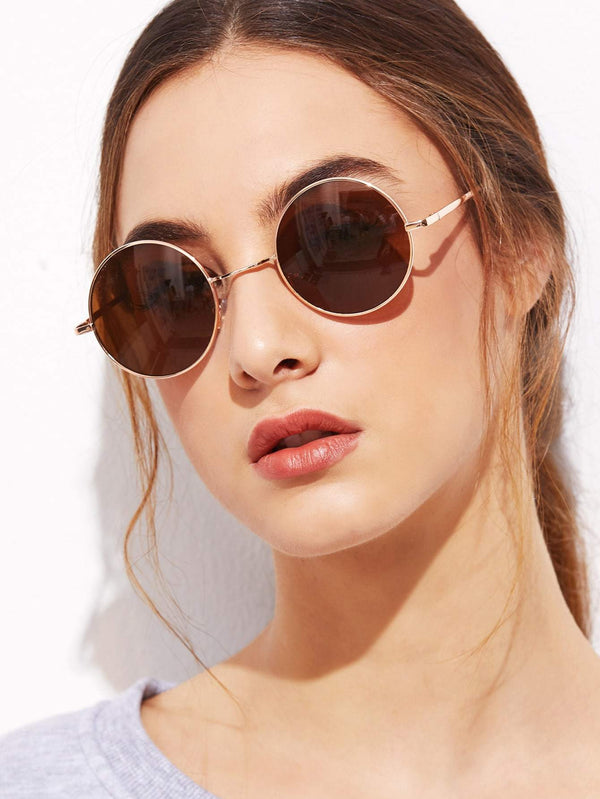 Gold Frame Brown Round Lens Sunglasses - 𝐄𝐑𝐔𝐌𝐉𝐔𝐒