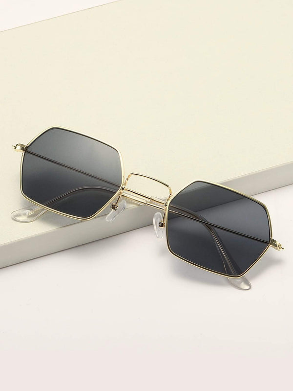 Hexagon Metal Frame Sunglasses With Case - 𝐄𝐑𝐔𝐌𝐉𝐔𝐒