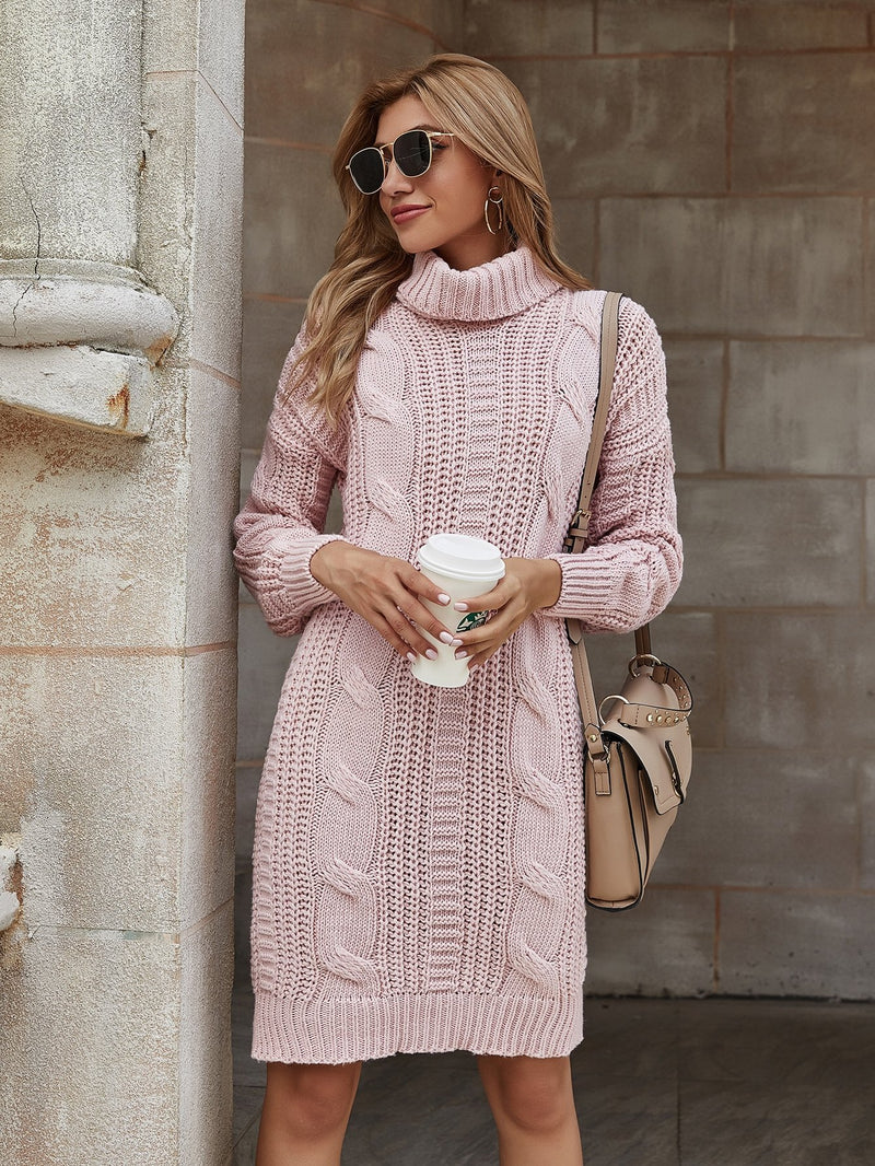 High Neck Cable Knit Sweater Dress - 𝐄𝐑𝐔𝐌𝐉𝐔𝐒