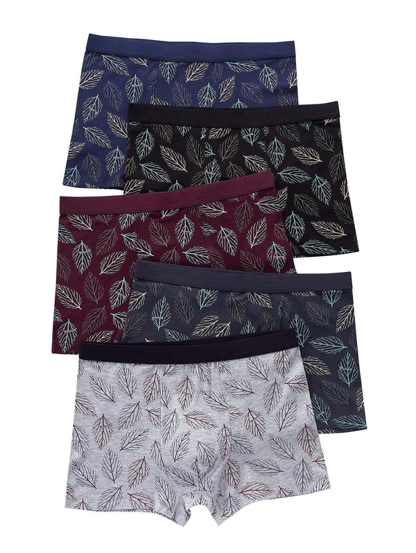 Men 5pcs Leaf Print Boxer Brief - 𝐄𝐑𝐔𝐌𝐉𝐔𝐒