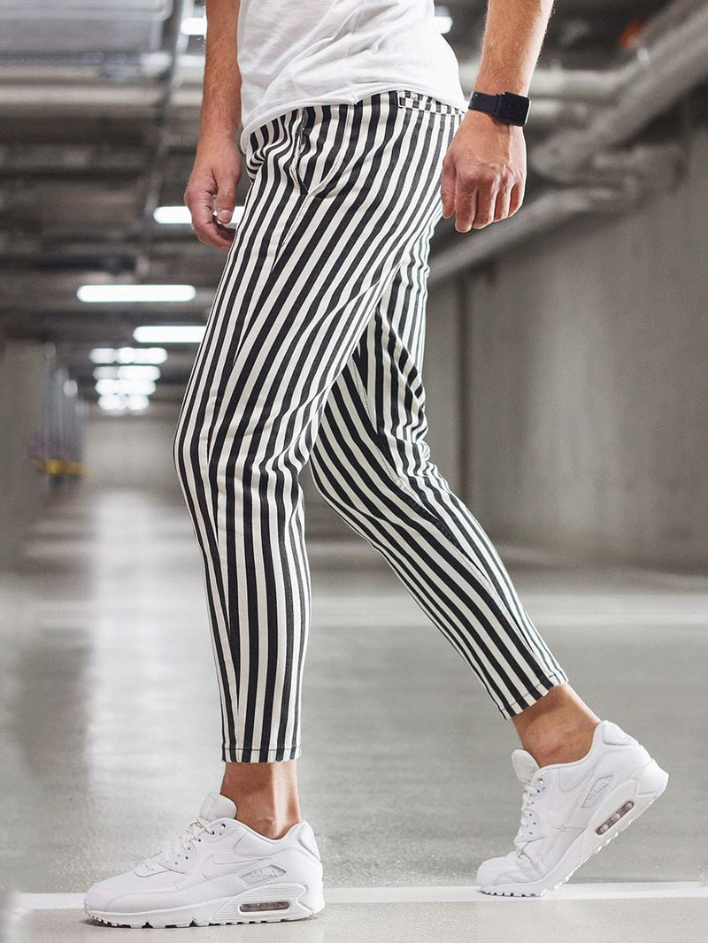 Men Vertical Striped Tapered Pants - 𝐄𝐑𝐔𝐌𝐉𝐔𝐒