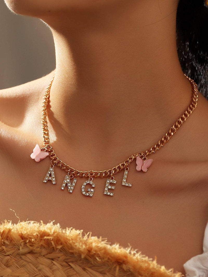 Rhinestone Letter Charm Necklace - 𝐄𝐑𝐔𝐌𝐉𝐔𝐒