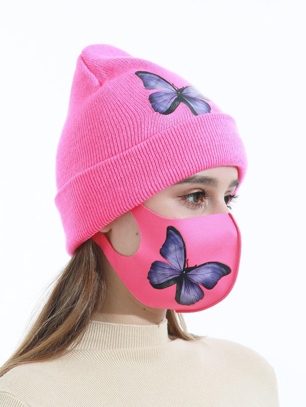 1pc Butterfly Print Face Mask & 1pc Beanie - 𝐄𝐑𝐔𝐌𝐉𝐔𝐒