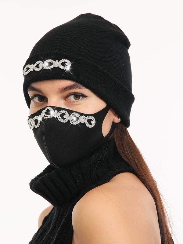 2pcs Rhinestone Decor Face Mask & Beanie - 𝐄𝐑𝐔𝐌𝐉𝐔𝐒