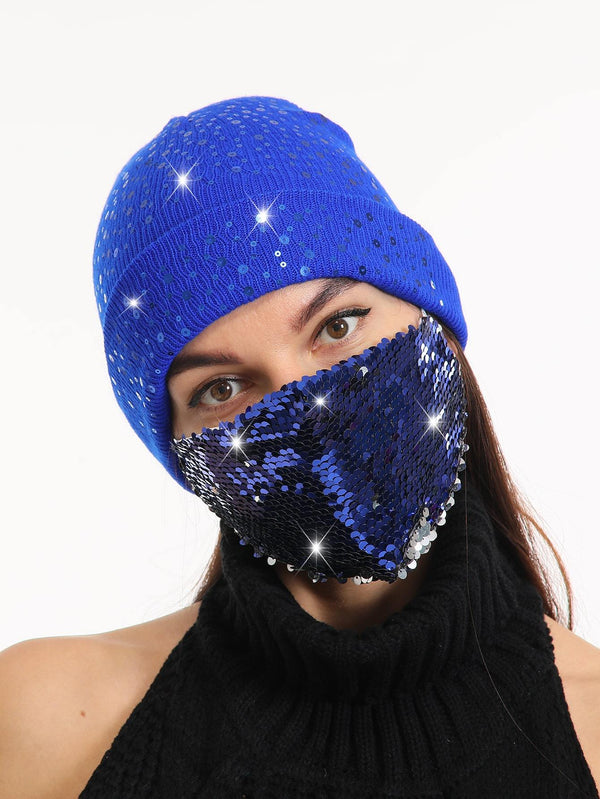 2pcs Sequin Decor Face Mask & Beanie - 𝐄𝐑𝐔𝐌𝐉𝐔𝐒