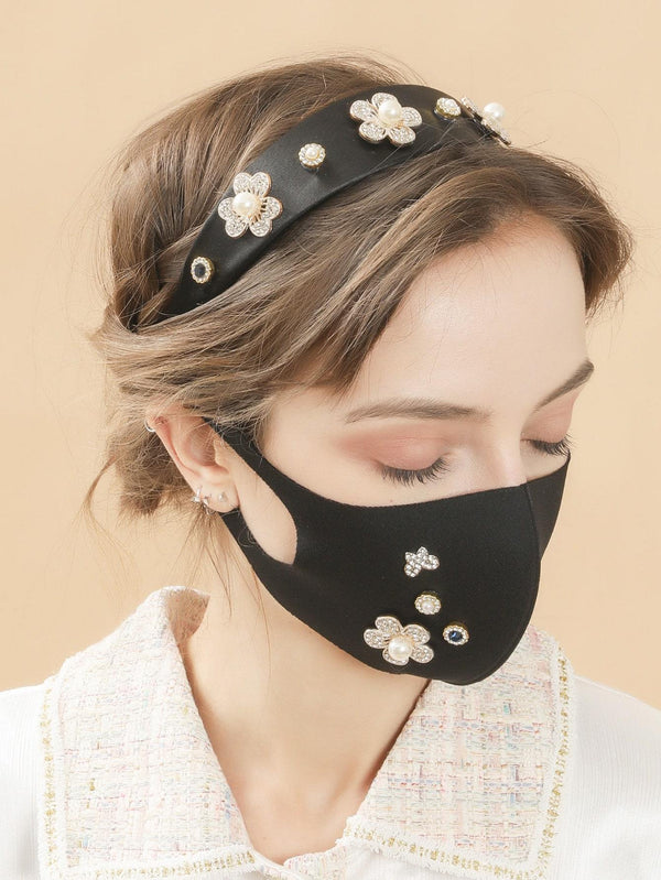 Flower Decor Face Mask & Hair Hoop - 𝐄𝐑𝐔𝐌𝐉𝐔𝐒