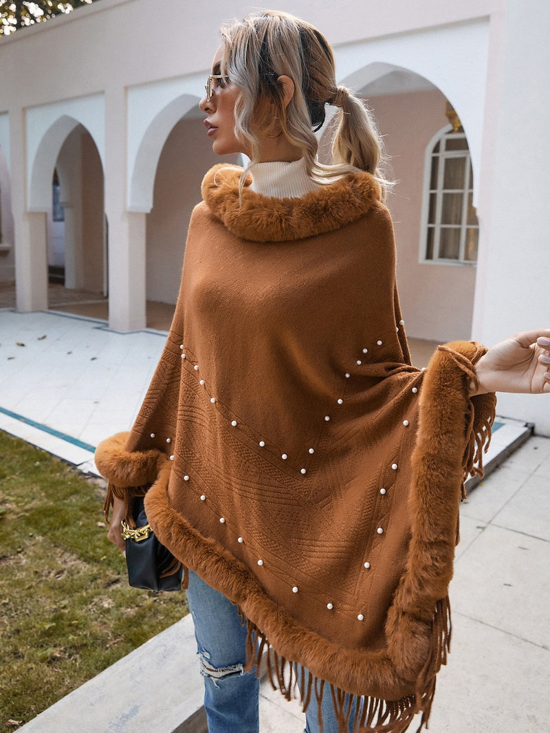 Contrast Faux Fur Fringe Hem Pearls Poncho Sweater - 𝐄𝐑𝐔𝐌𝐉𝐔𝐒