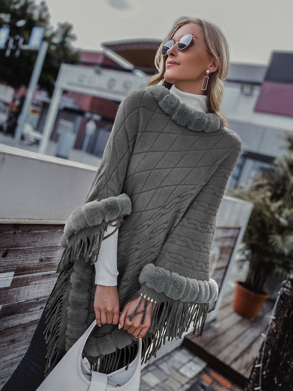 Cable Knit Poncho Sweater - 𝐄𝐑𝐔𝐌𝐉𝐔𝐒