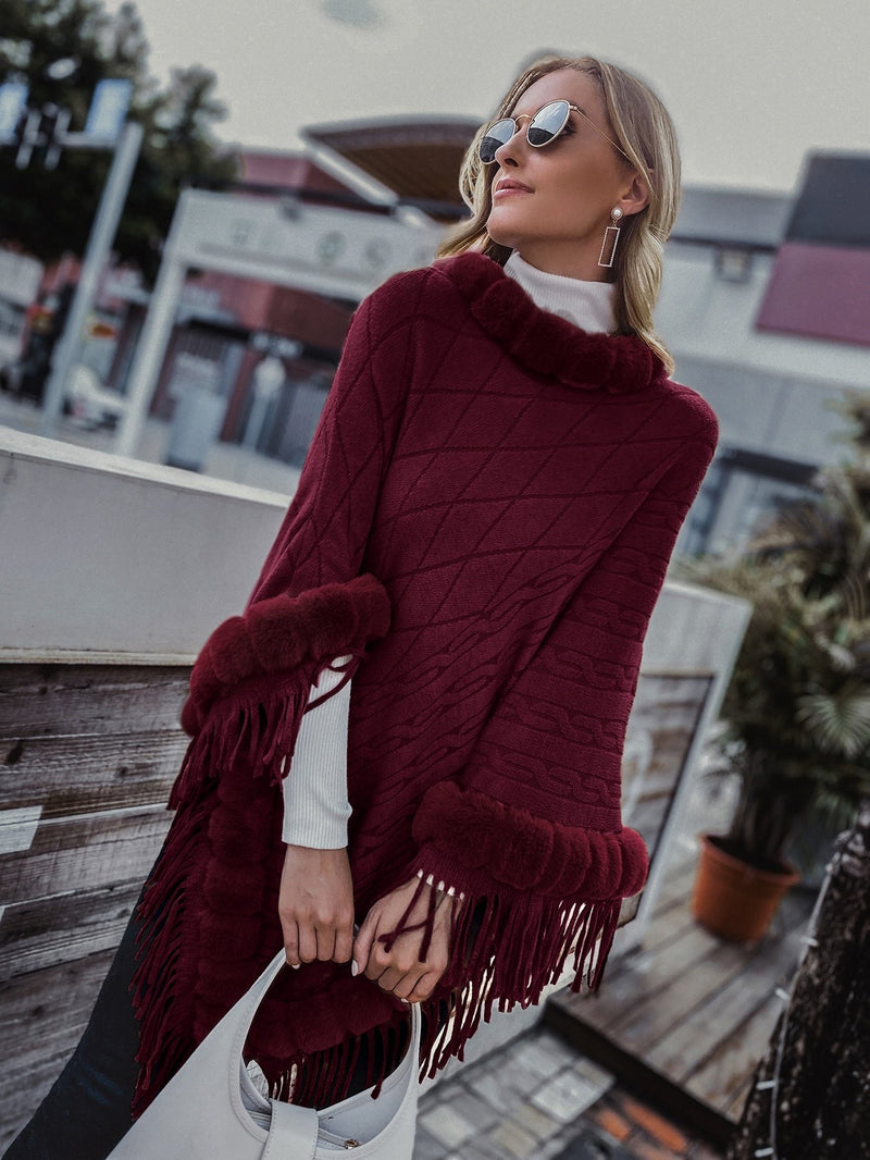 Contrast Faux Fur Cable Knit Poncho Sweater - 𝐄𝐑𝐔𝐌𝐉𝐔𝐒