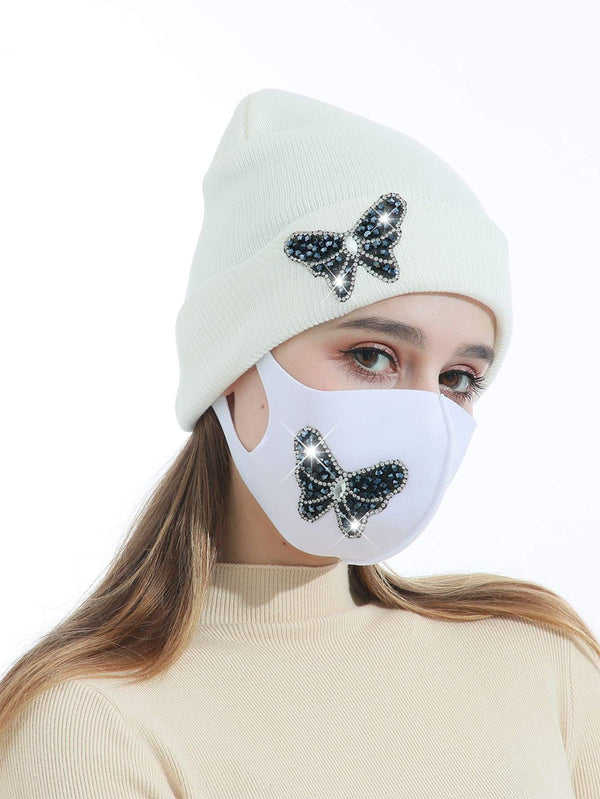 Rhinestone Butterfly Decor Face Mask & Beanie - 𝐄𝐑𝐔𝐌𝐉𝐔𝐒