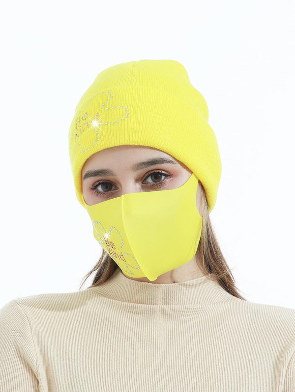 Rhinestone Letter Decor Face Mask & Beanie - 𝐄𝐑𝐔𝐌𝐉𝐔𝐒
