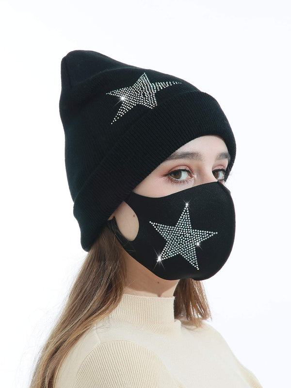 Rhinestone Star Decor Face Mask & Beanie - 𝐄𝐑𝐔𝐌𝐉𝐔𝐒
