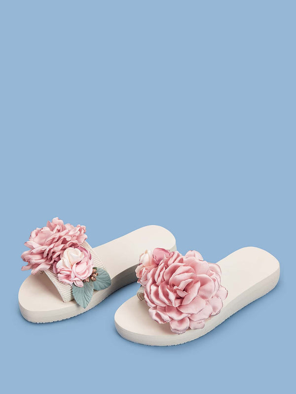 Open Toe Floral Applique Sliders - 𝐄𝐑𝐔𝐌𝐉𝐔𝐒