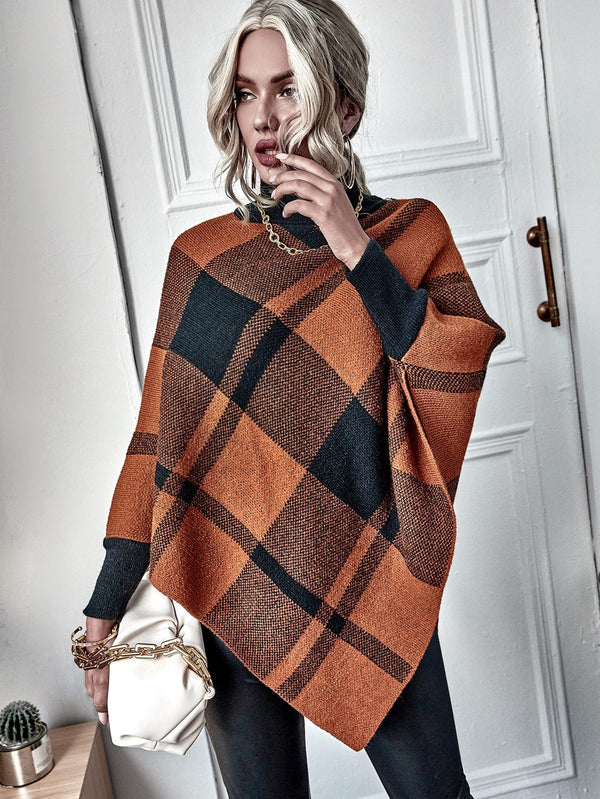Plaid Turtleneck Asymmetrical Hem Ribbed Poncho - 𝐄𝐑𝐔𝐌𝐉𝐔𝐒