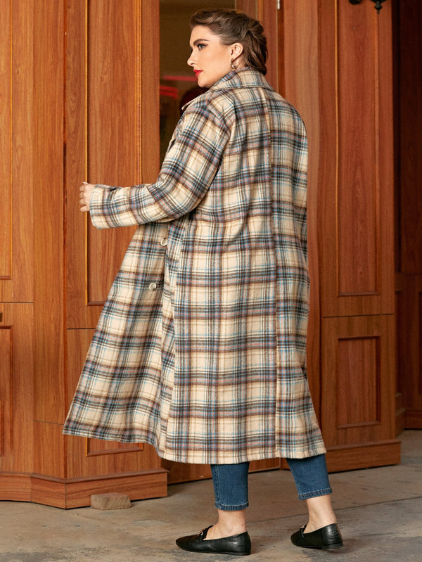 Plus Plaid Lapel Collar Pea Coat - 𝐄𝐑𝐔𝐌𝐉𝐔𝐒